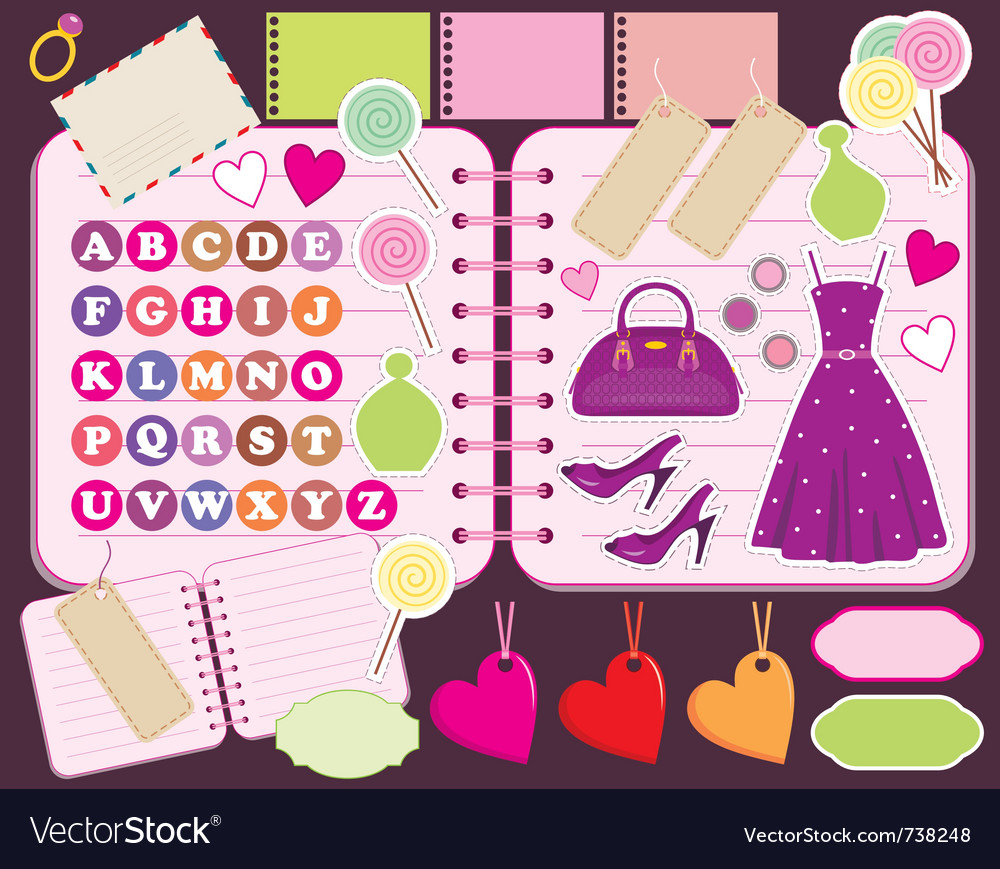 Scrapbook elements with letters and clothes vector | Price: 3 Credit (USD $3)