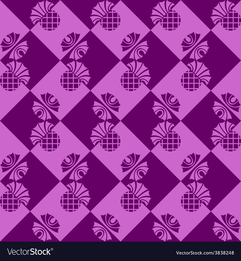 Seamless checkered background with flowers thistle vector | Price: 1 Credit (USD $1)