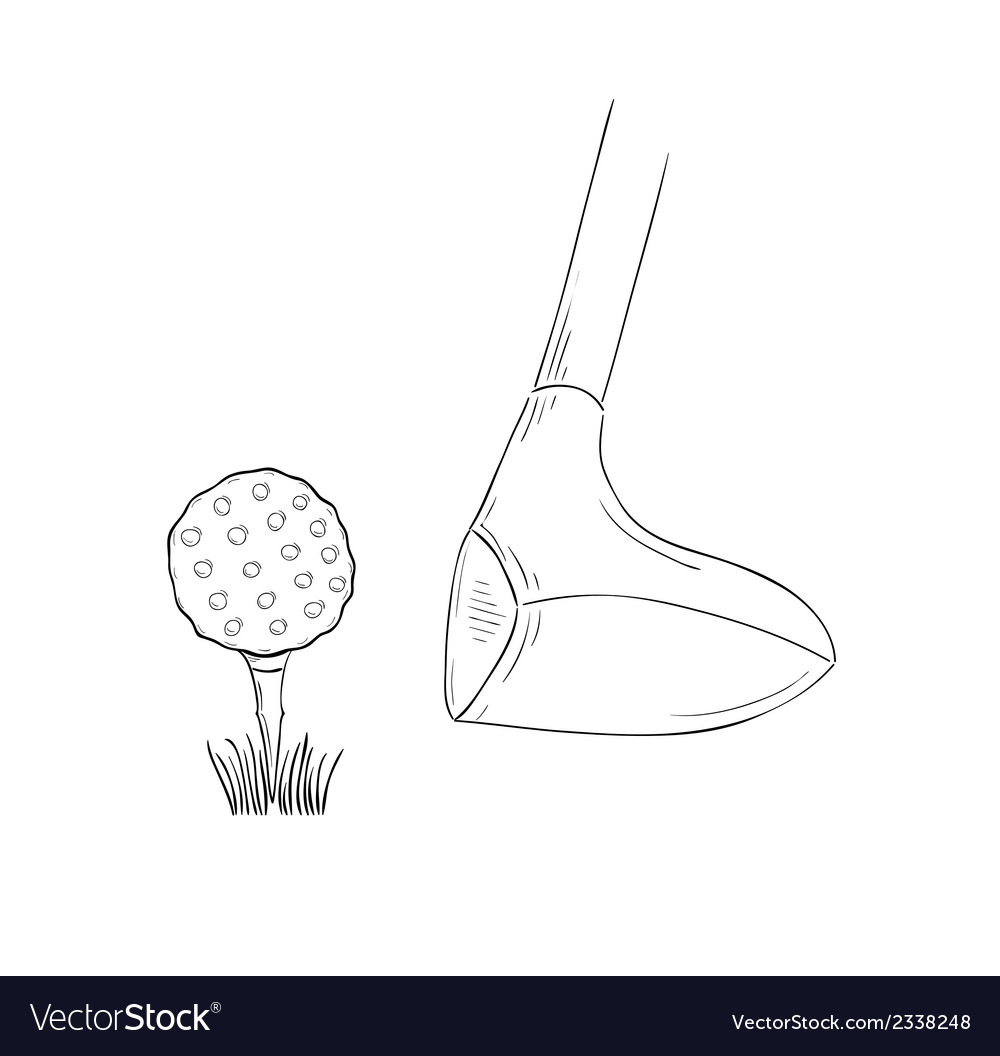 Sketch of the golf ball and golf club vector | Price: 1 Credit (USD $1)
