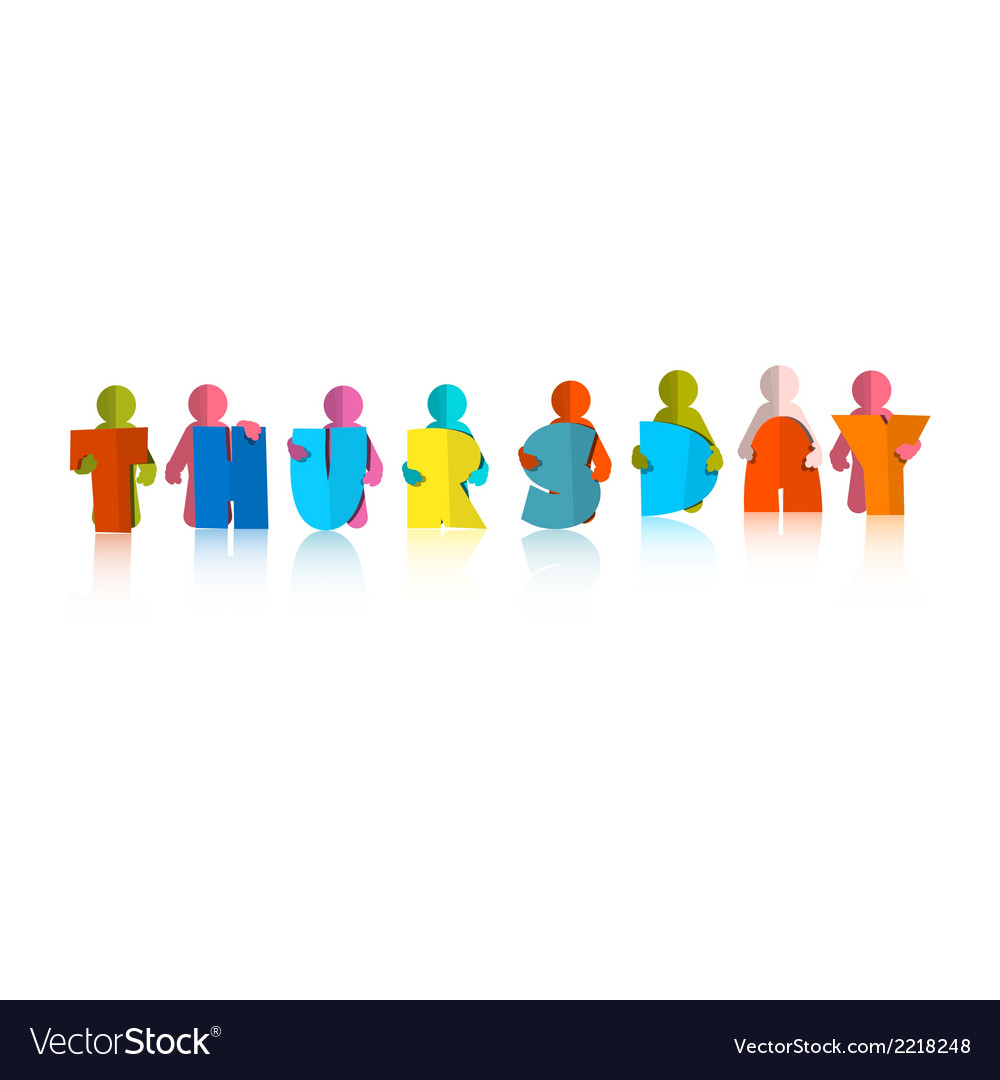 Thursday colorful title - paper cut people and vector | Price: 1 Credit (USD $1)