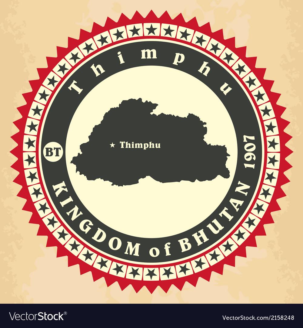 Vintage label-sticker cards of kingdom of bhutan vector | Price: 1 Credit (USD $1)