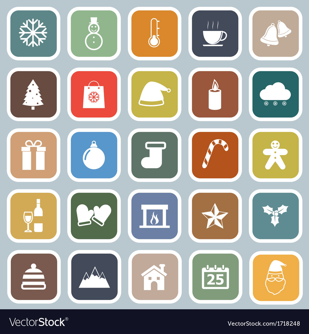 Winter flat icons on blue background vector | Price: 1 Credit (USD $1)