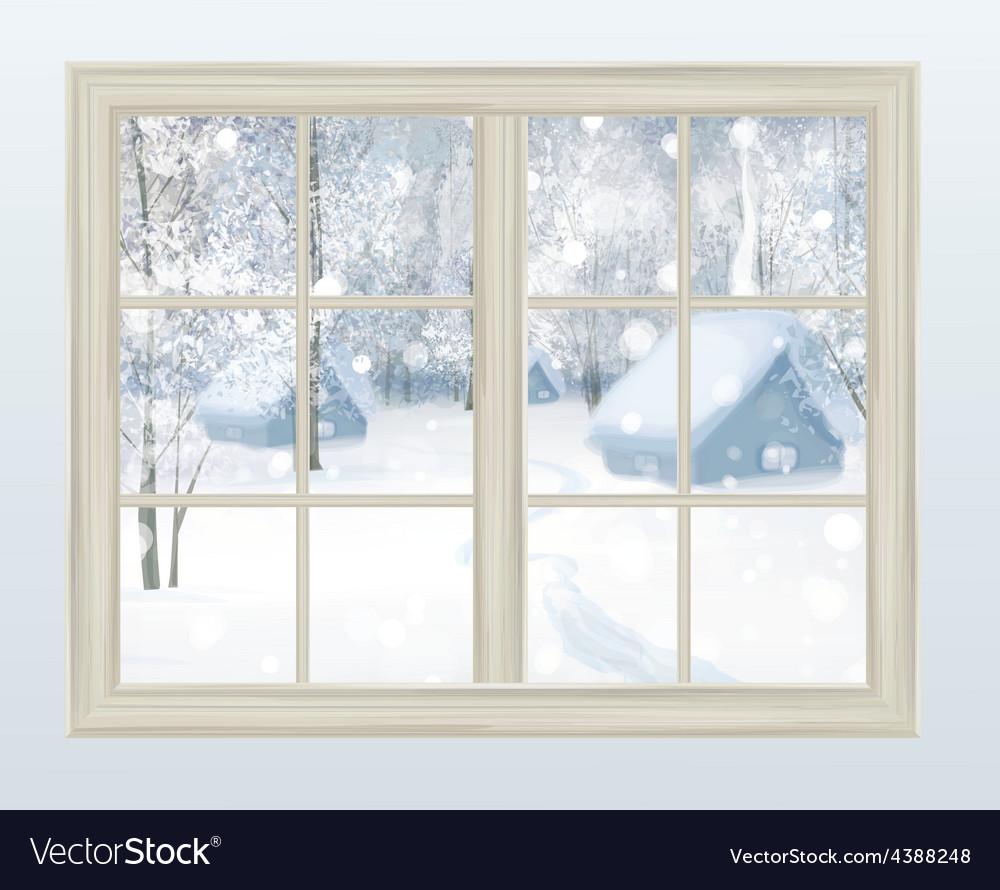 Winter window vector | Price: 1 Credit (USD $1)