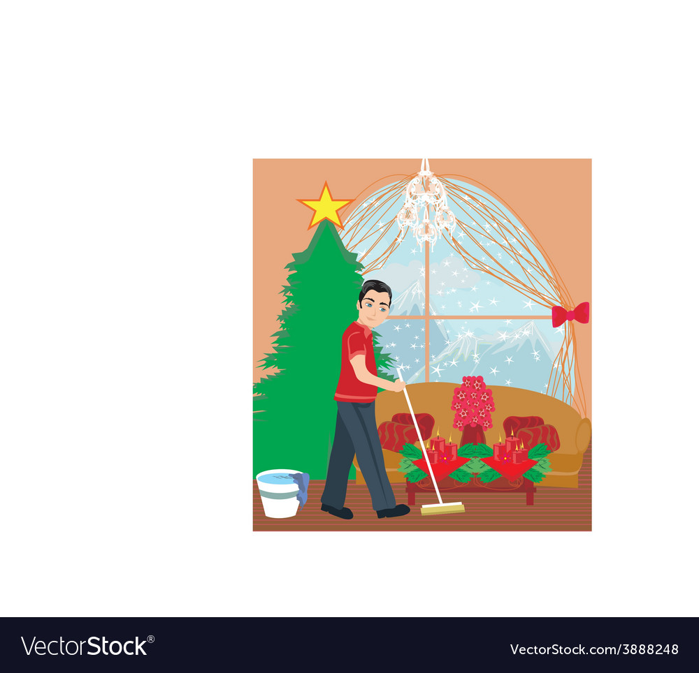 Young man cleaning house before christmas vector | Price: 1 Credit (USD $1)