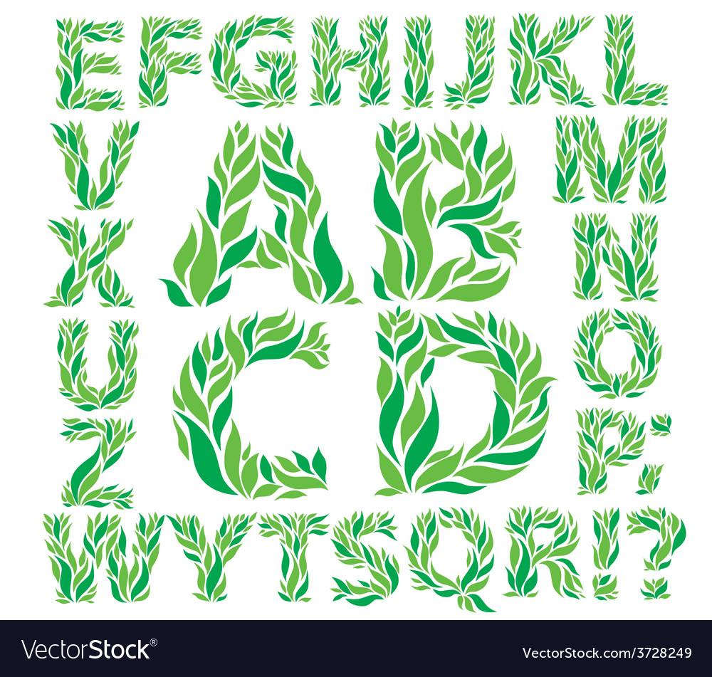Alphabet green leaves vector | Price: 1 Credit (USD $1)