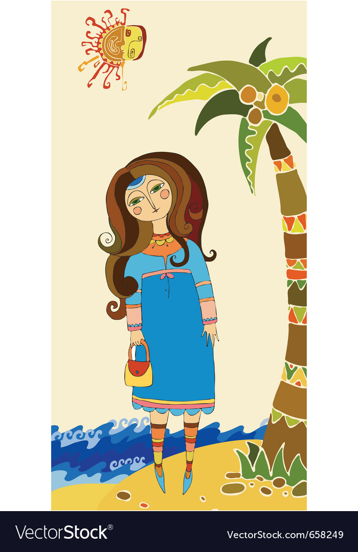 Beautiful girl on a beach vector | Price: 3 Credit (USD $3)