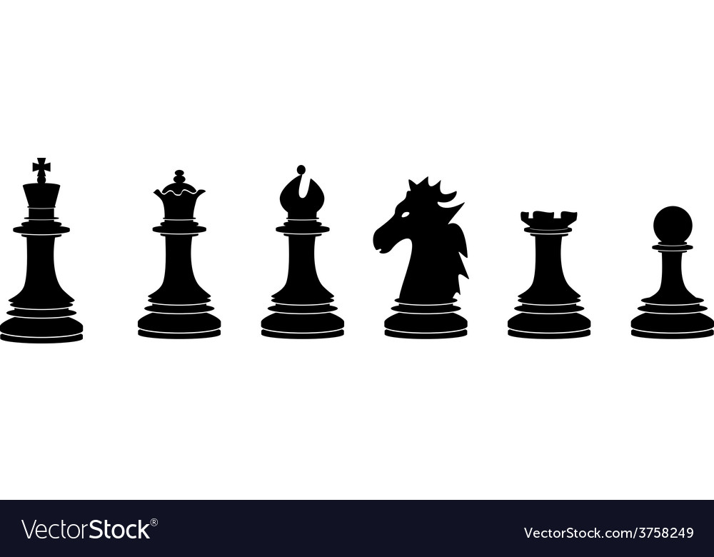Black chess pieces vector | Price: 1 Credit (USD $1)