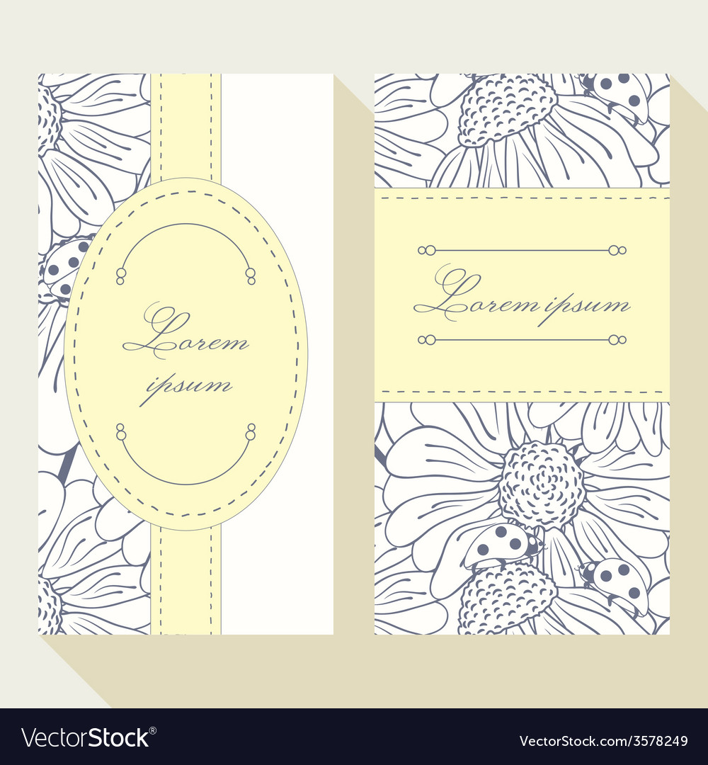 Business card set with outline ladybug and daisy vector | Price: 1 Credit (USD $1)