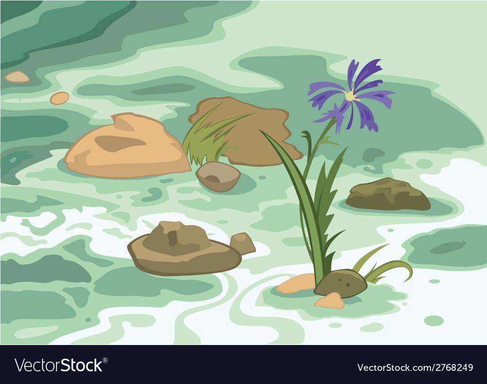 Cartoon flowers stones and brook vector | Price: 1 Credit (USD $1)