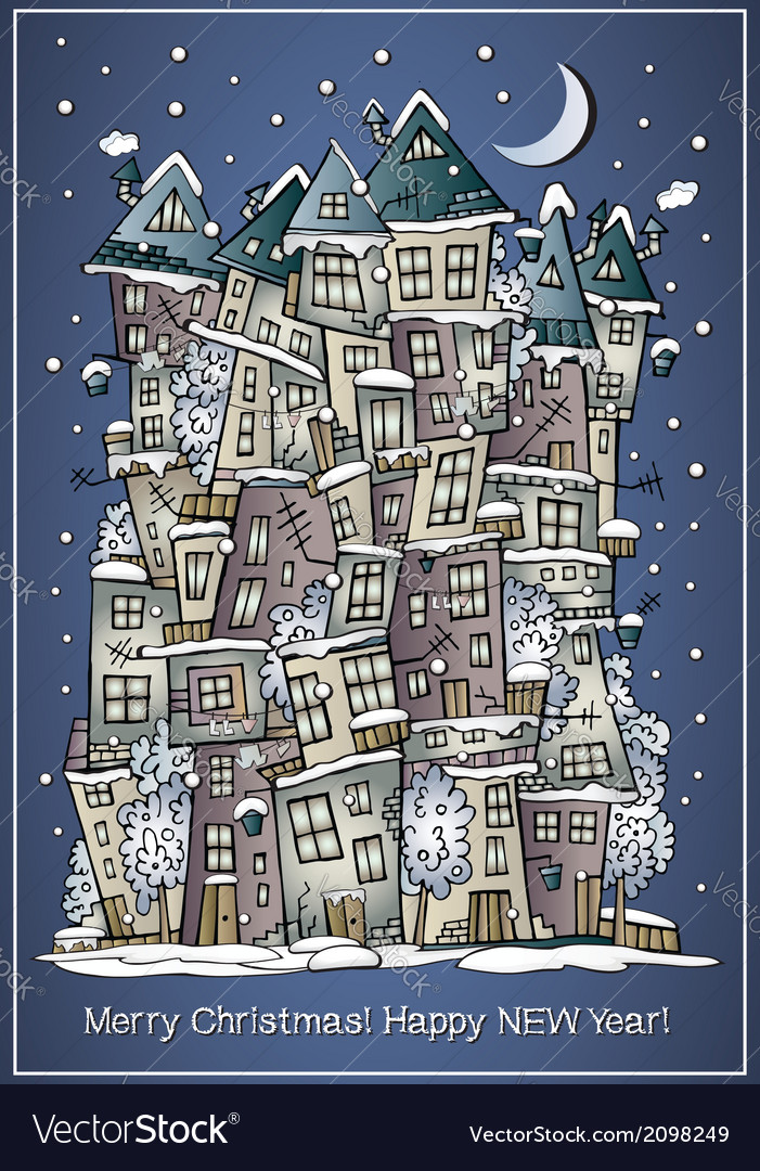Cartoon winter fairytale town greeting card vector | Price: 1 Credit (USD $1)