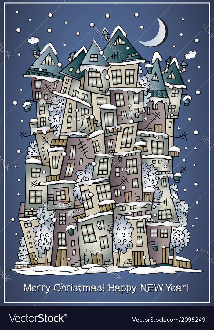 Cartoon winter fairytale town greeting card vector | Price: 1 Credit (USD $1)