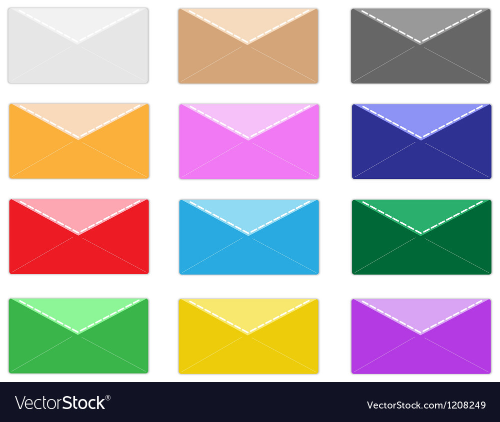 Colorful set of close envelope icons vector | Price: 1 Credit (USD $1)
