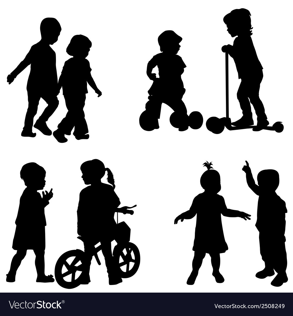 Couples of children silhouette vector | Price: 1 Credit (USD $1)