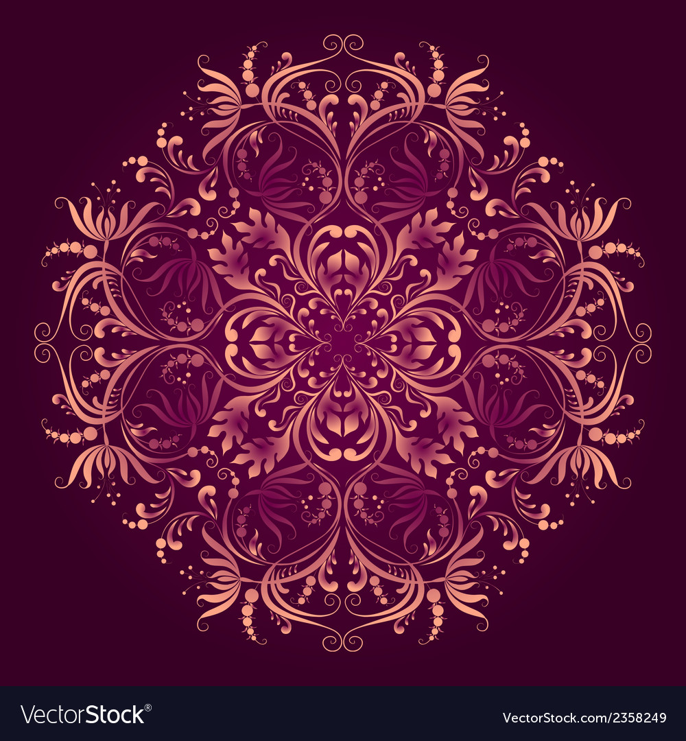 Floral pattern with round damask ornament vector | Price: 1 Credit (USD $1)
