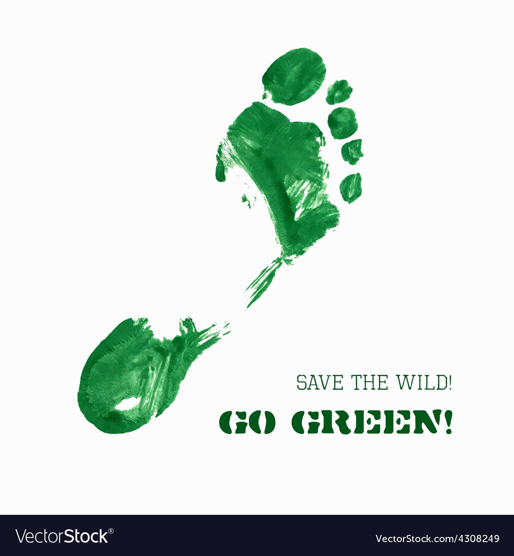 Green foot imprint vector | Price: 1 Credit (USD $1)