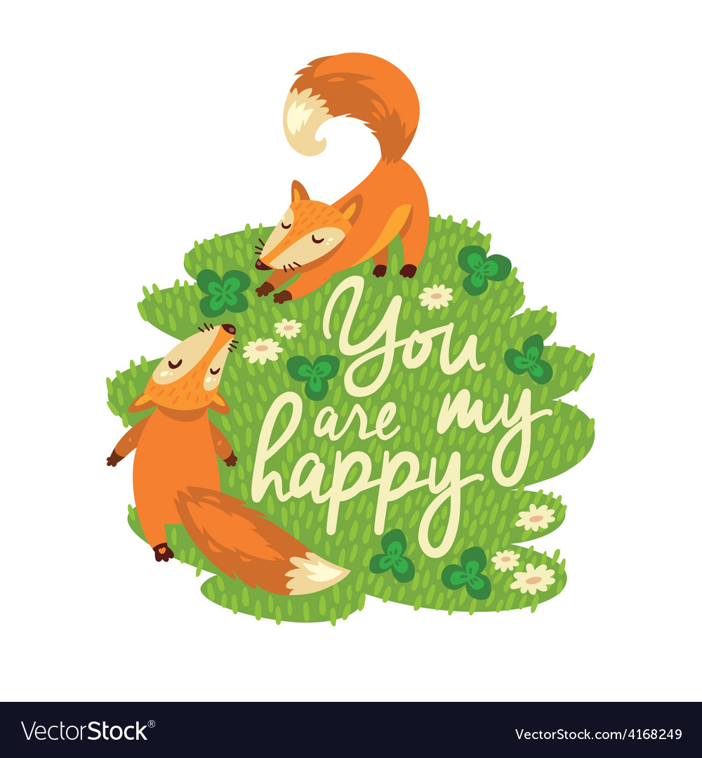 Happy card with cute foxes in vector | Price: 1 Credit (USD $1)
