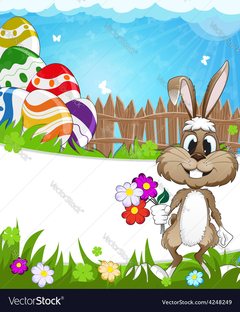 Happy easter nature background vector | Price: 3 Credit (USD $3)