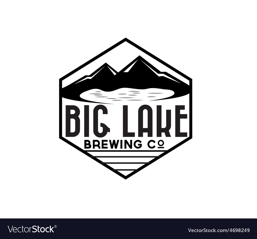 Lake and mountains on brewing company label vector   Price: 1 Credit (USD $1)