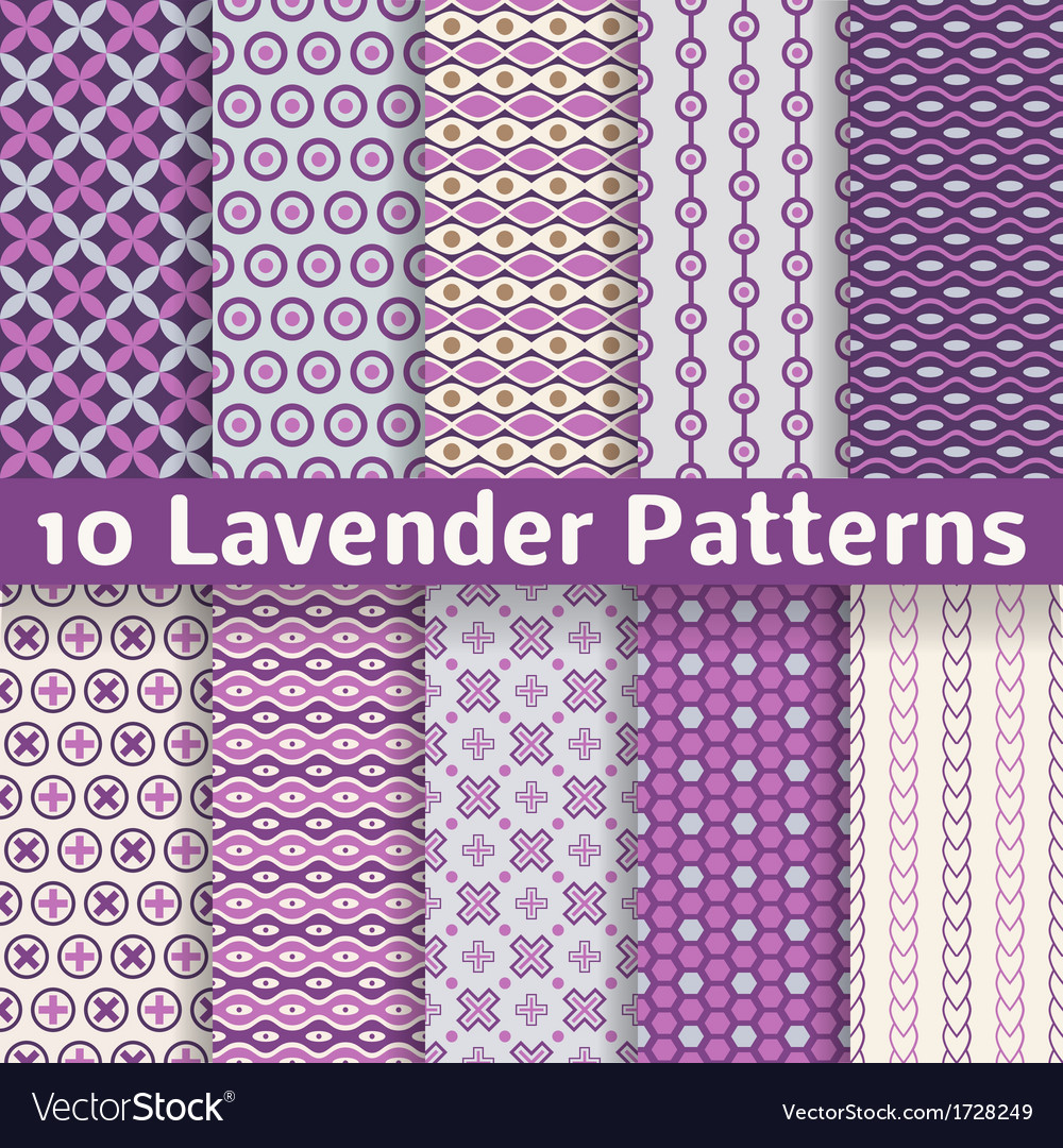 Lavender different seamless patterns vector | Price: 1 Credit (USD $1)