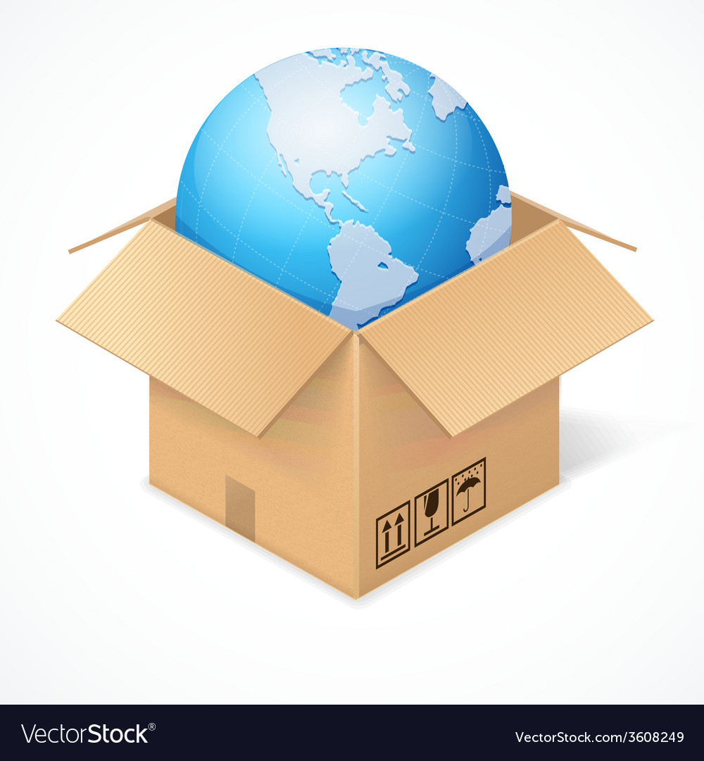 Opened cardboard box and globe isolated on white vector | Price: 1 Credit (USD $1)