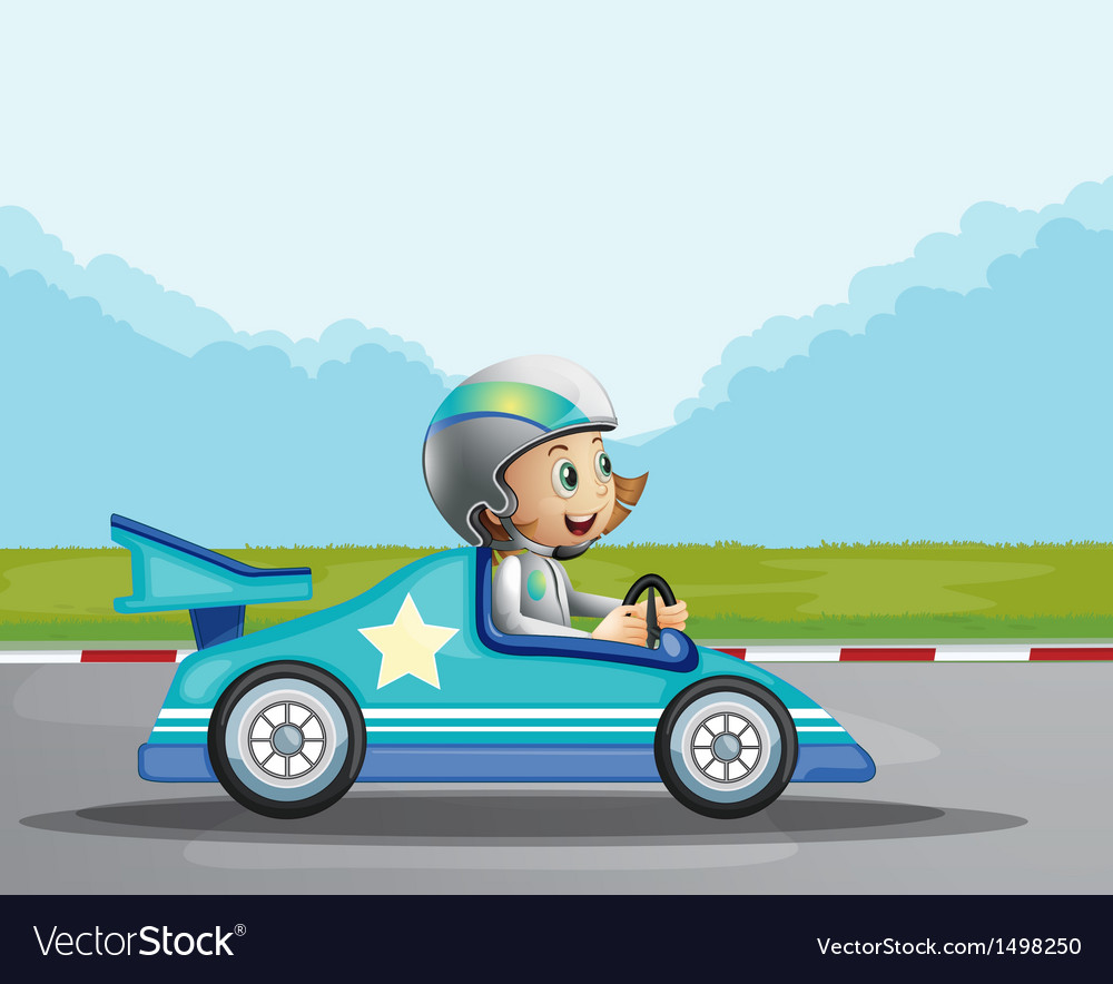 A happy girl in her blue racing car vector