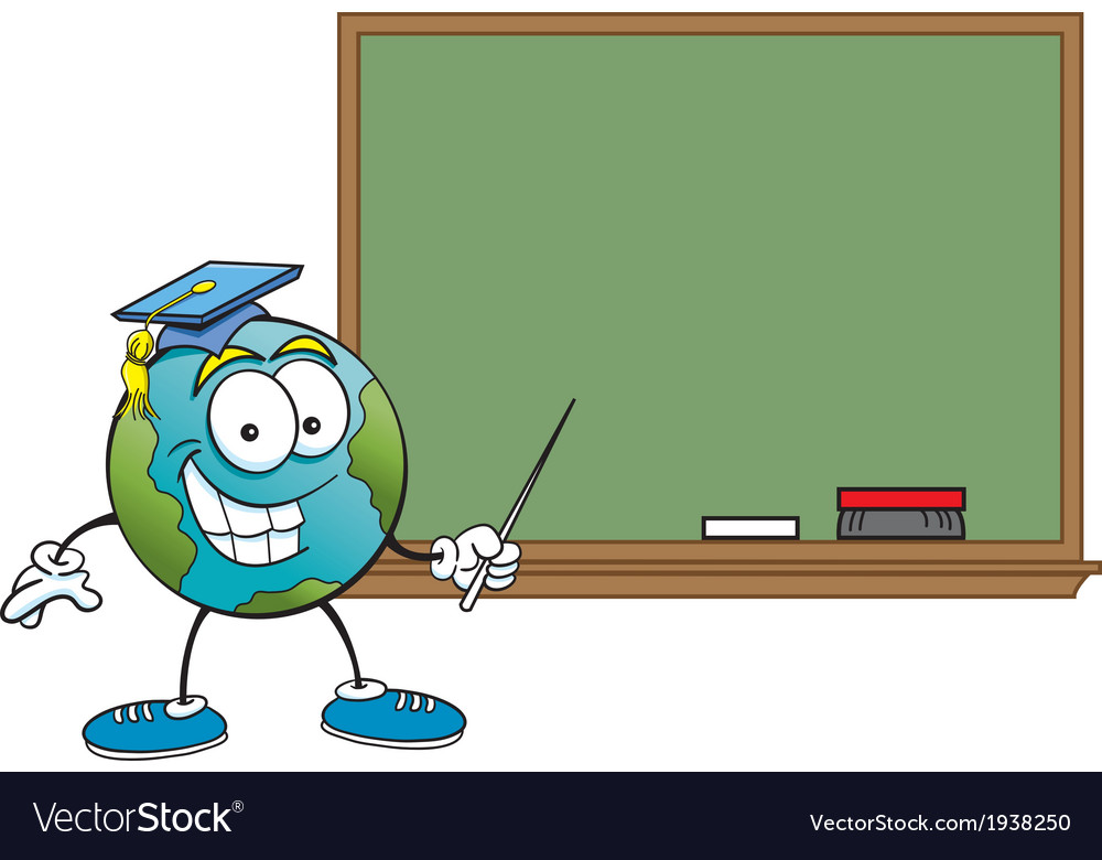 Cartoon globe with a blackboard vector | Price: 1 Credit (USD $1)
