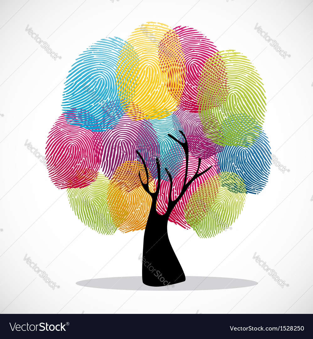 Colorful finger prints tree vector | Price: 1 Credit (USD $1)