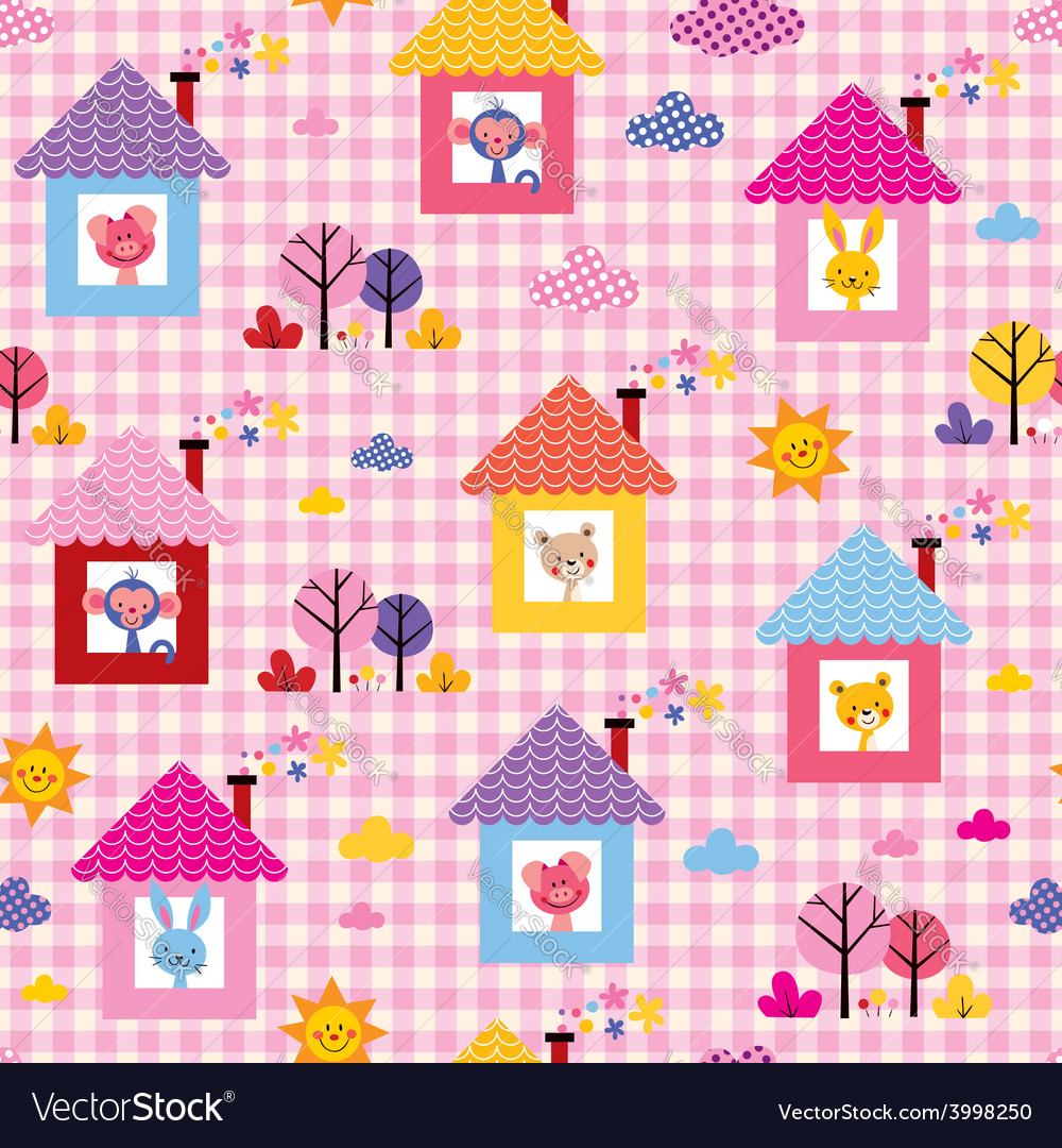 Cute baby animals in houses kids pattern vector   Price: 1 Credit (USD $1)