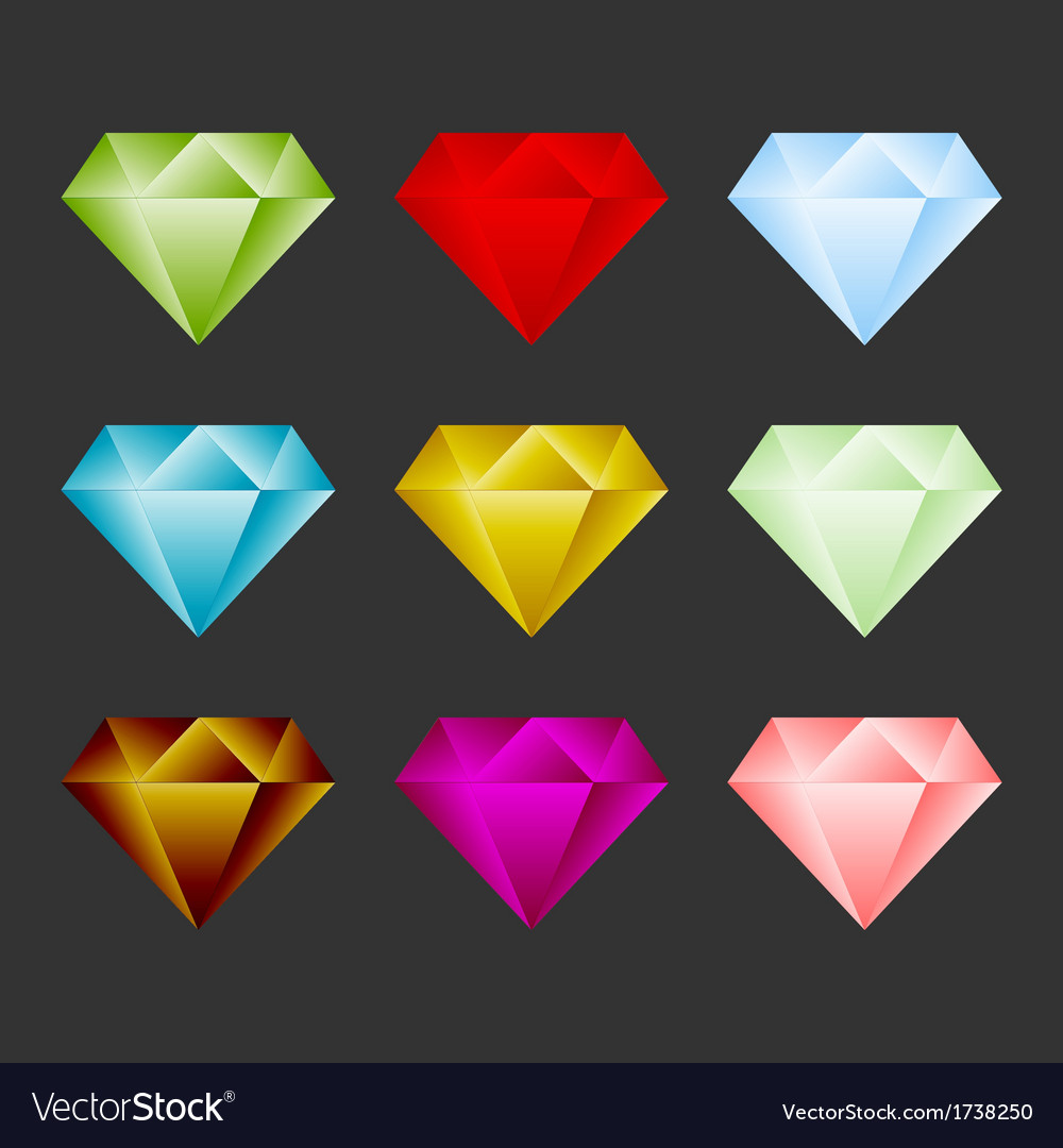 Gem icon set game resource or emblem vector | Price: 1 Credit (USD $1)