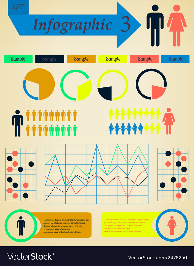 Infographics elements set man and woman - vector | Price: 1 Credit (USD $1)