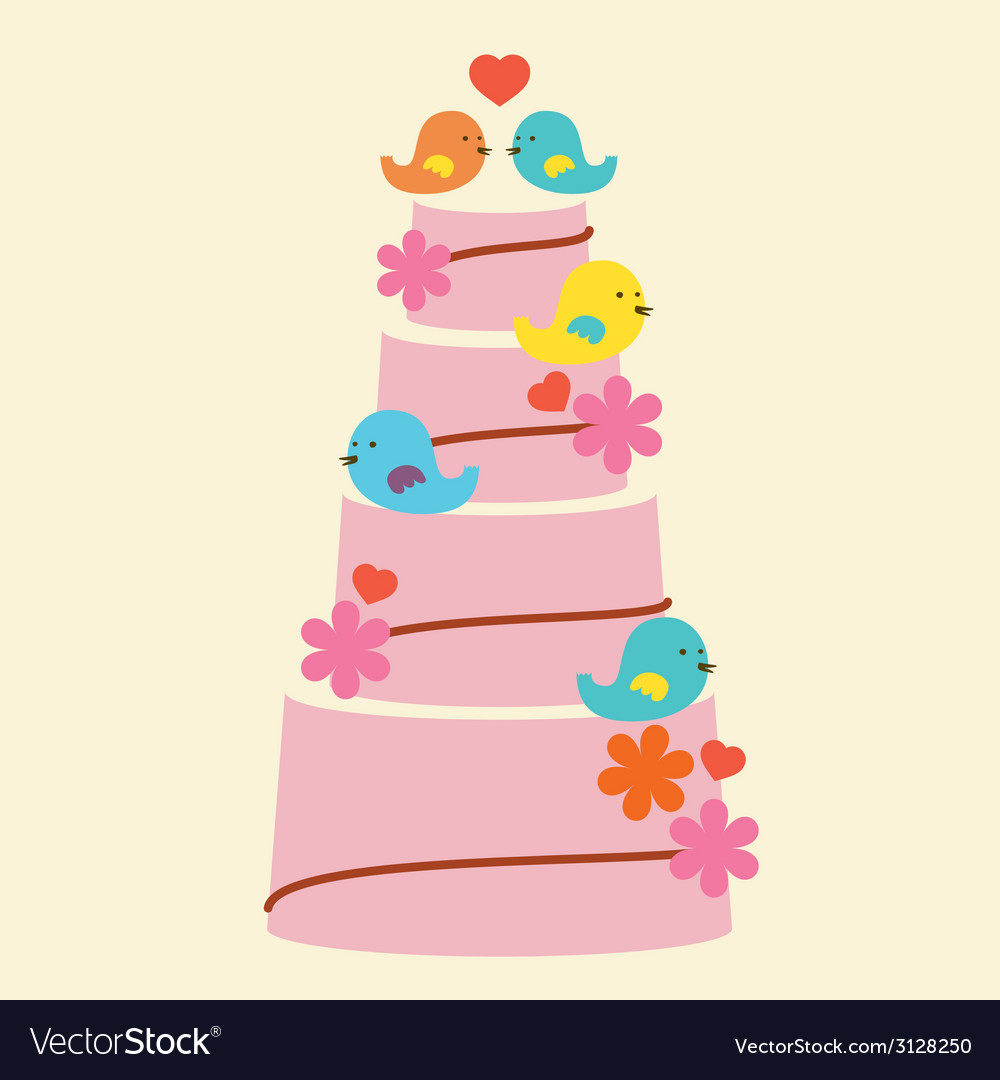 Lovely birds with wedding cake vector | Price: 1 Credit (USD $1)