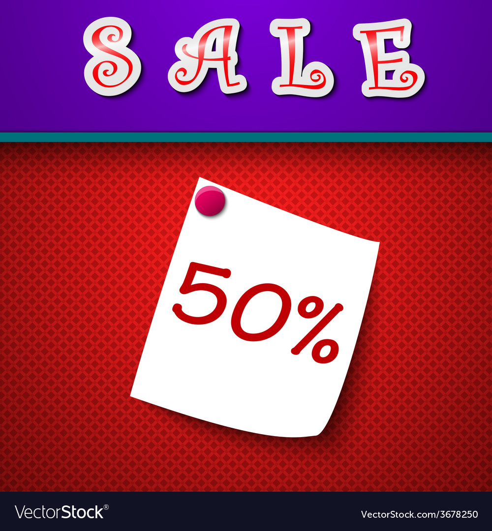 Sale discount 50 percent sign vector | Price: 1 Credit (USD $1)