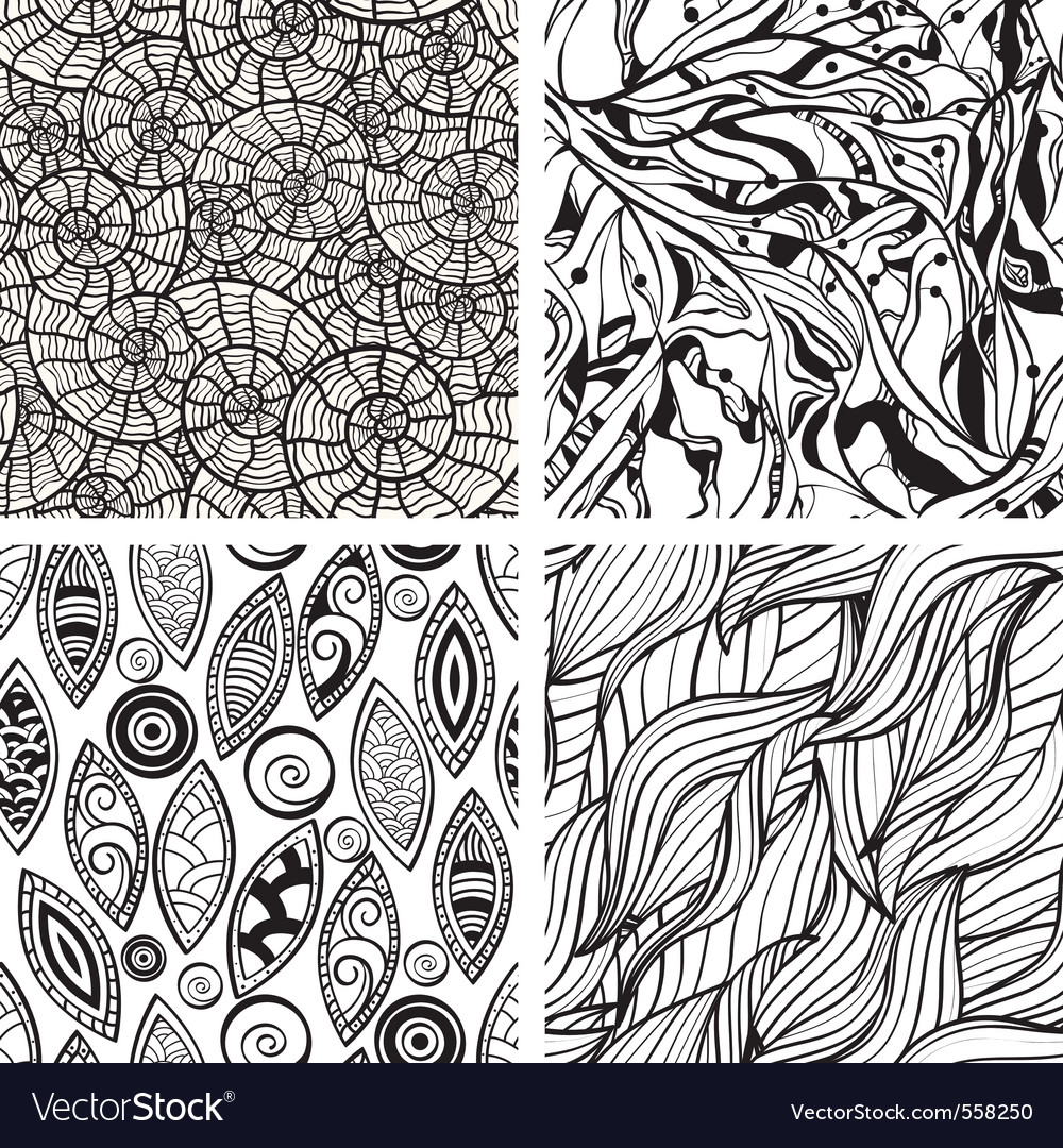 Seamless hand drawn patterns vector | Price: 1 Credit (USD $1)