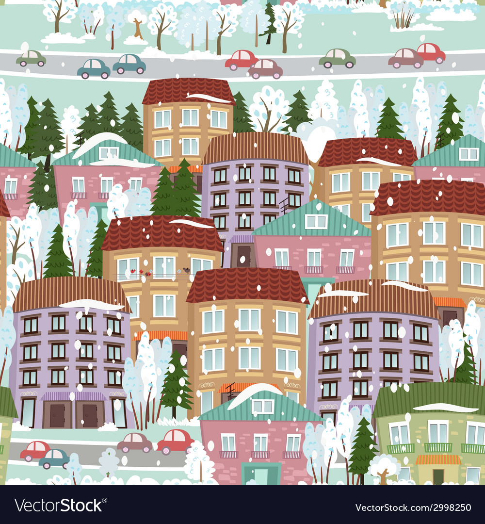Seamless texture with a winter cute houses vector | Price: 1 Credit (USD $1)