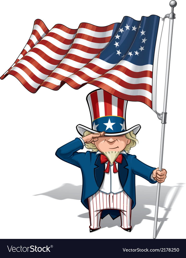 Uncle sam saluting the betsy ross flag vector | Price: 1 Credit (USD $1)