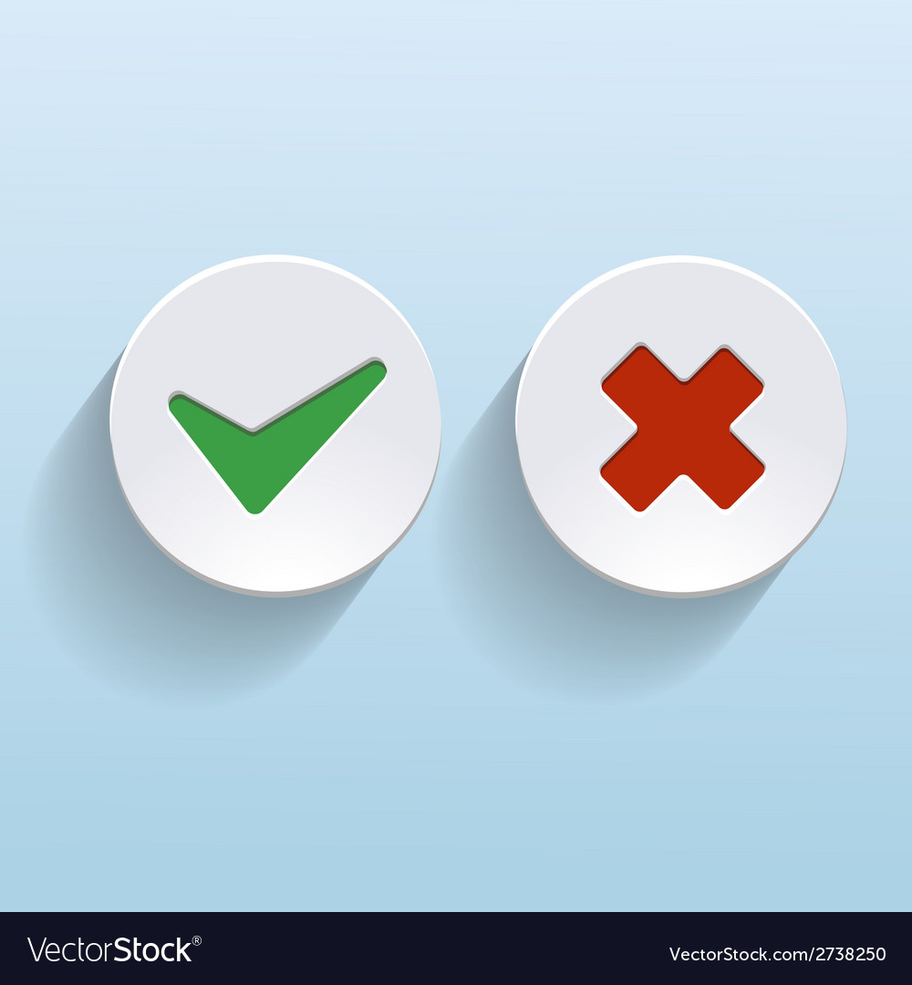 Yes and no check marks on circles vector | Price: 1 Credit (USD $1)