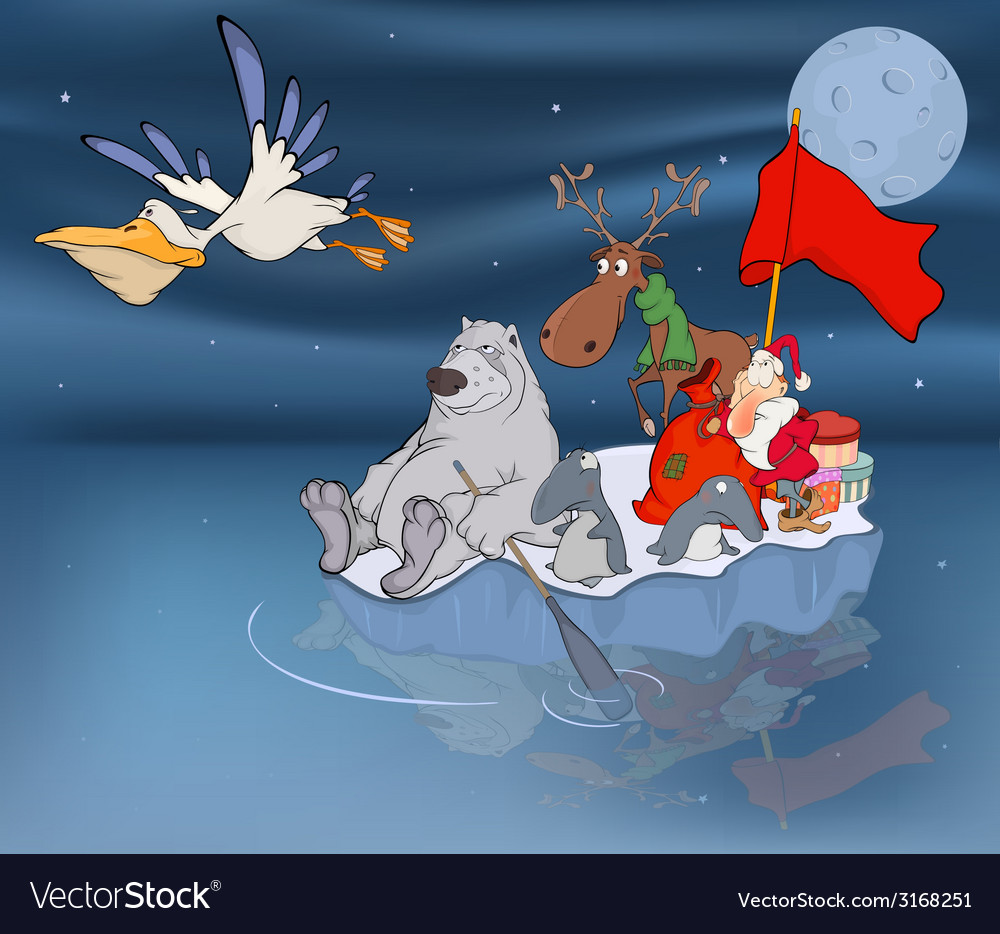 Adventures of santa claus and his friends vector | Price: 1 Credit (USD $1)