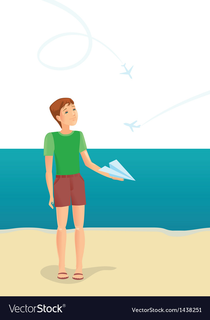Boy and airplanes vector   Price: 1 Credit (USD $1)