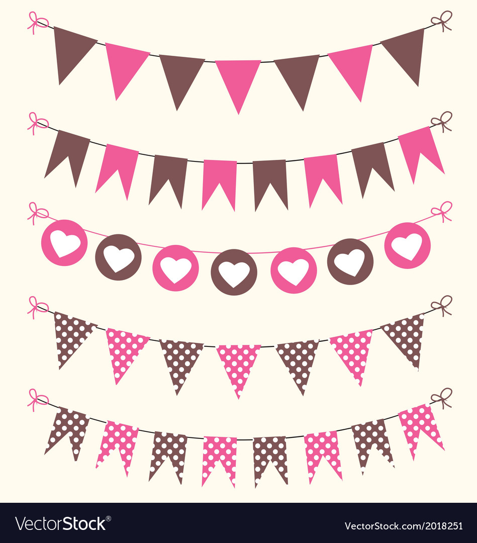 Bunting set pink and brown for scrapbook vector