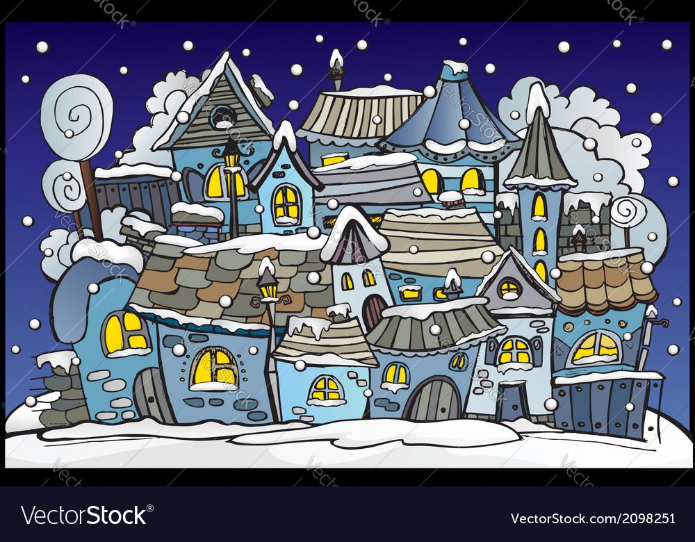 Cartoon winter fairytale town vector | Price: 1 Credit (USD $1)