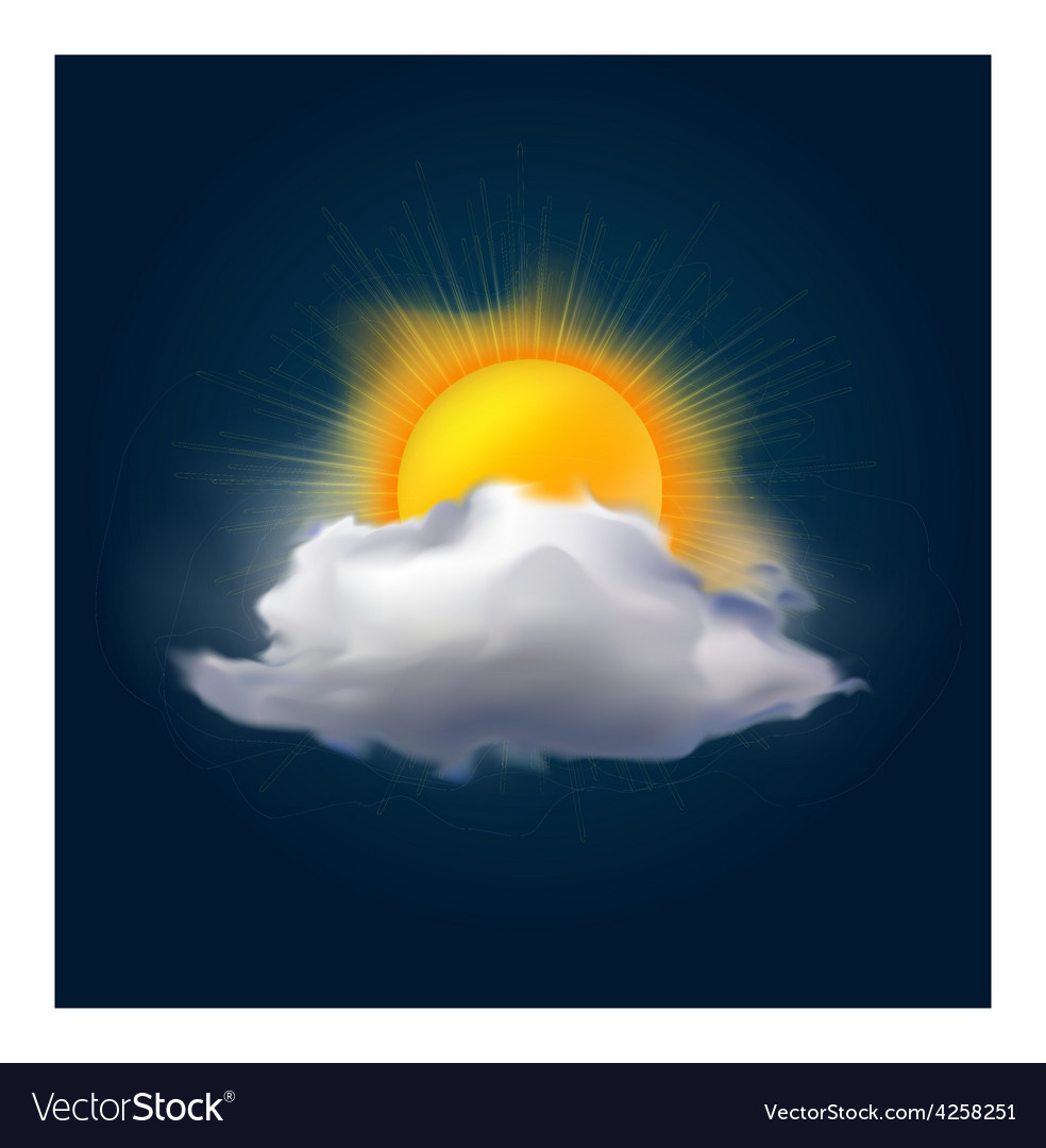 Cloud and sun vector | Price: 3 Credit (USD $3)