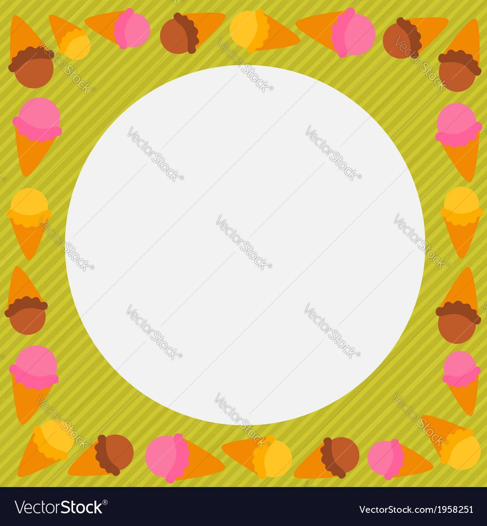 Cute cartoon ice cream character frame vector   Price: 1 Credit (USD $1)