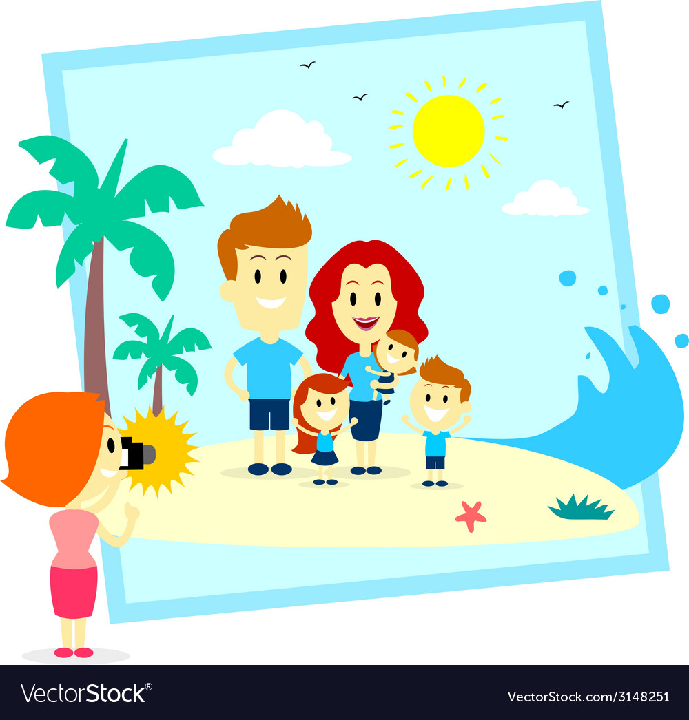 Family fun photo shoot at the beach vector | Price: 1 Credit (USD $1)