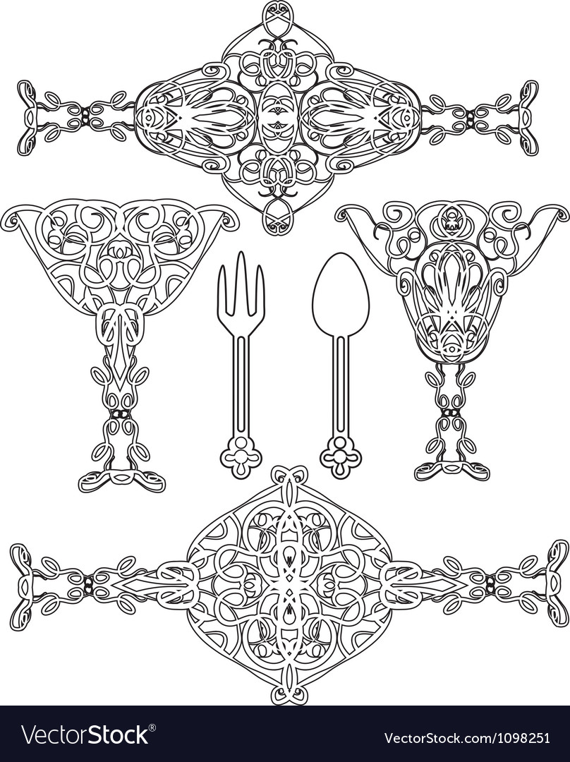 Ornate abstract silhouettes vector | Price: 1 Credit (USD $1)