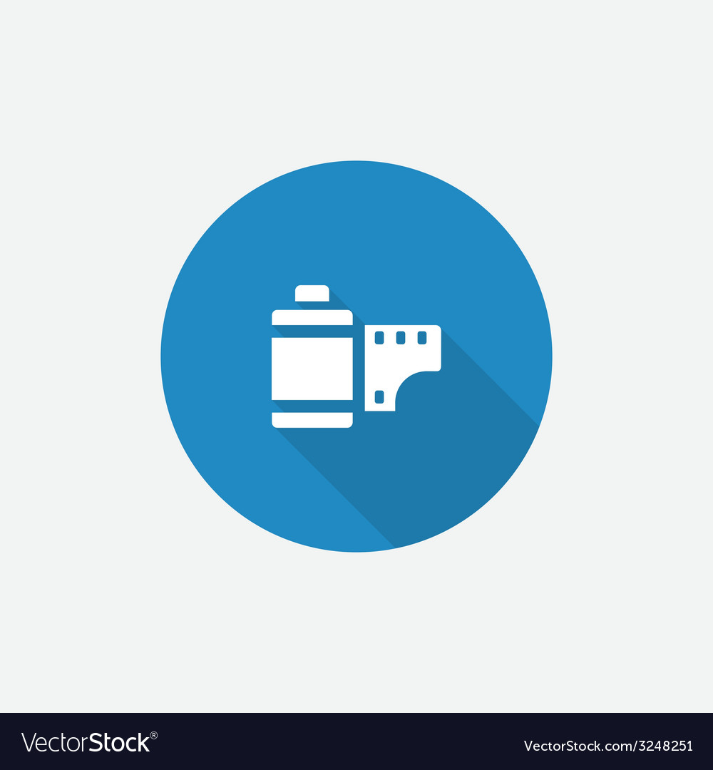 Photo film flat blue simple icon with long shadow vector | Price: 1 Credit (USD $1)