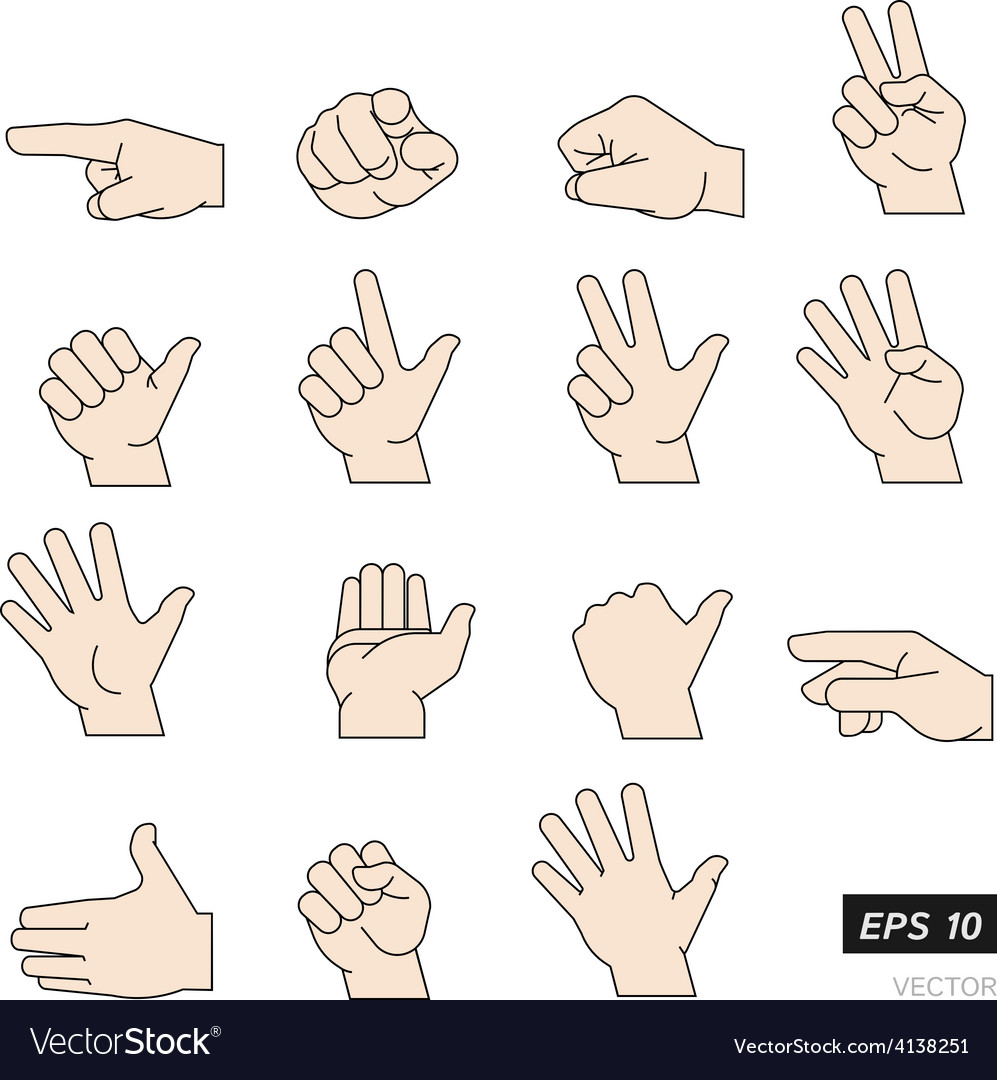 Set of flat line hands isolated on vector | Price: 1 Credit (USD $1)