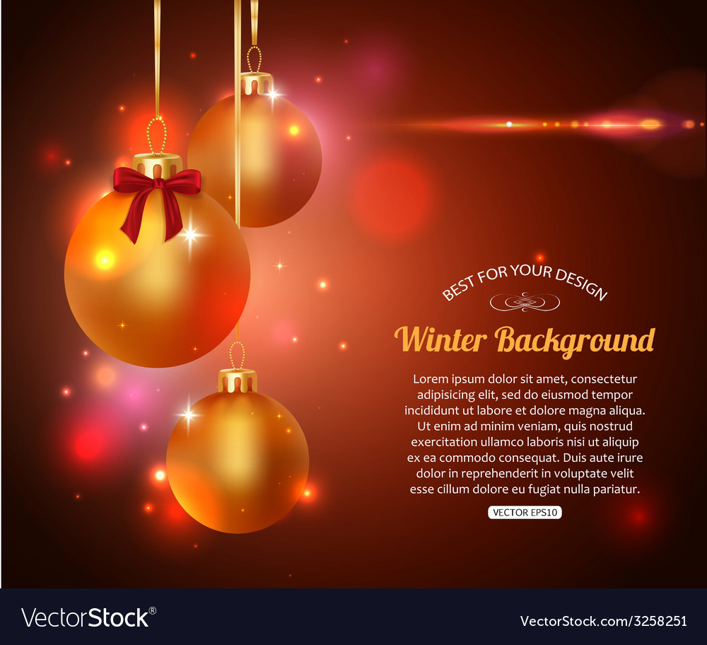 Shining christmas background with golden balls and vector | Price: 1 Credit (USD $1)