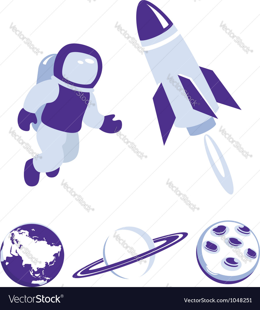 Space and planet icons blue set vector | Price:  Credit (USD $)