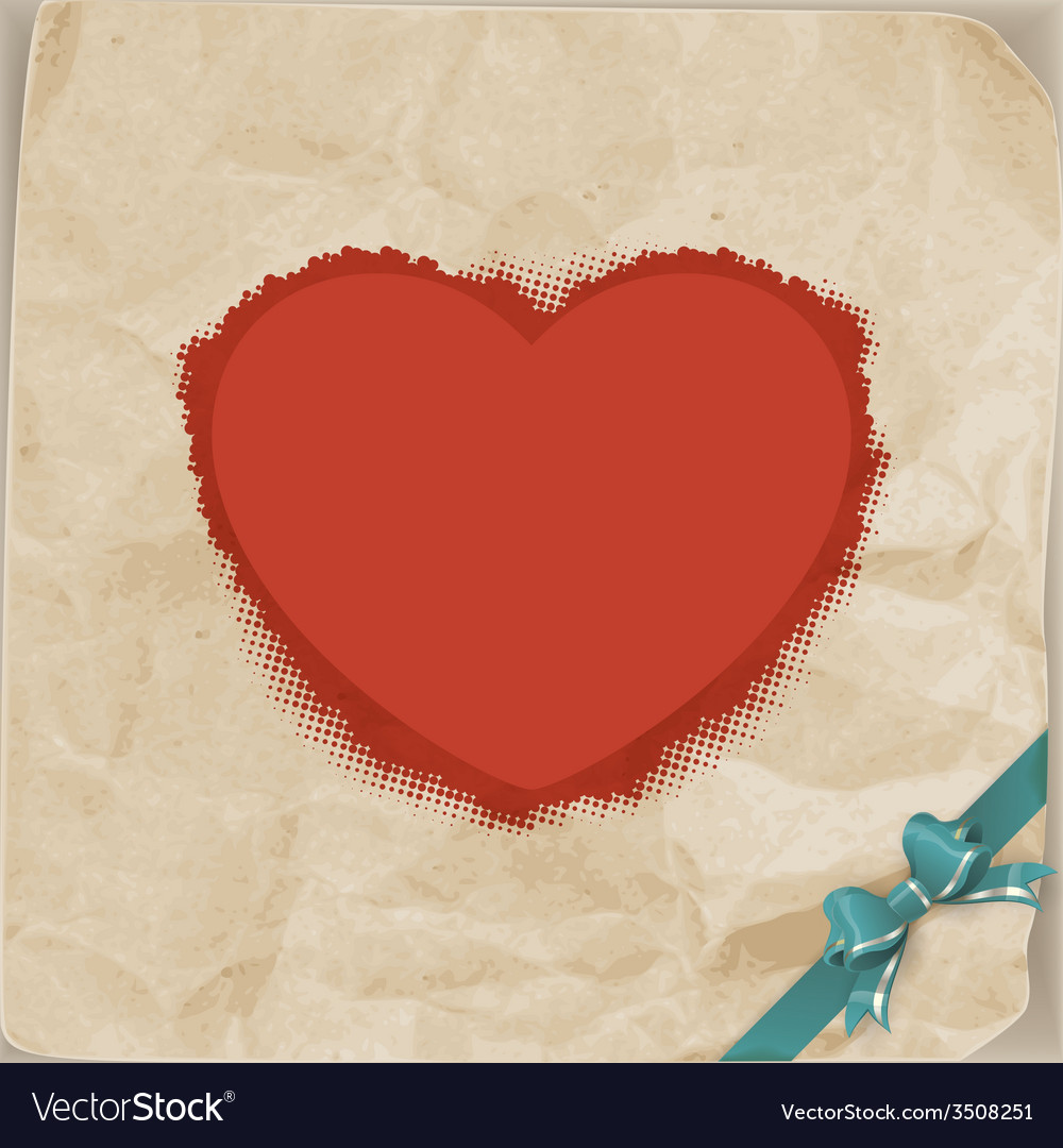 Vintage heart and bow valentines day eps 10 vector | Price: 1 Credit (USD $1)