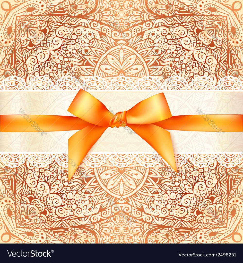 Vintage wedding card template with orange bow vector | Price: 1 Credit (USD $1)
